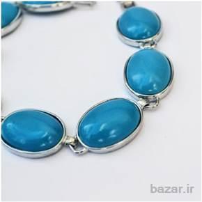 دستبند نقره ای با مهره های فیروزه ای – مدل ۱۰۰۳